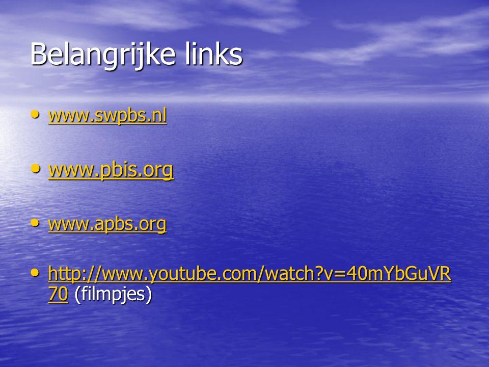 Belangrijke links www.pbis.org www.swpbs.nl www.apbs.org