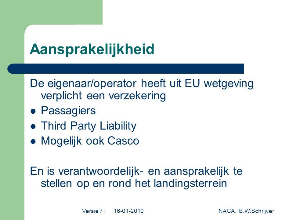 Aansprakelijkheid De eigenaar/operator heeft uit EU wetgeving verplicht een verzekering. Passagiers.