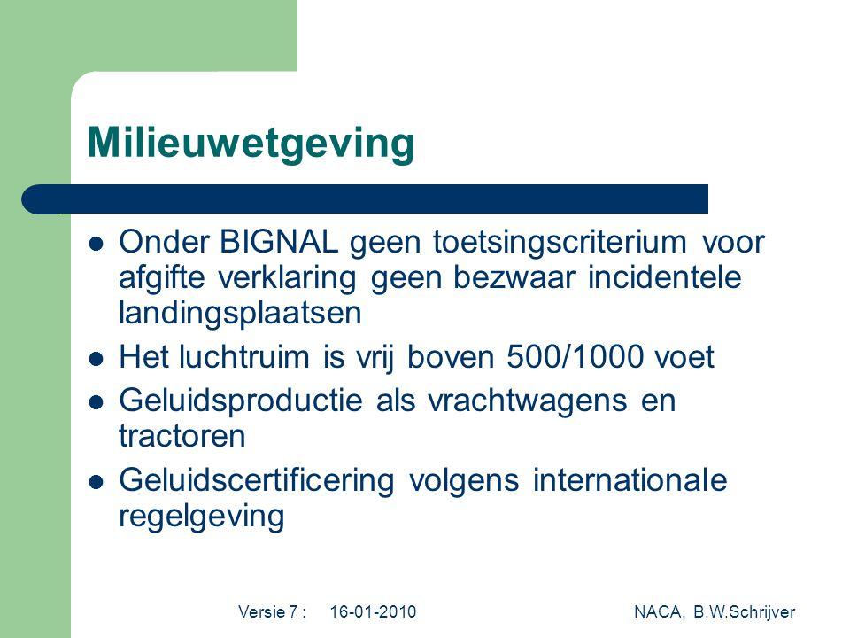 Milieuwetgeving Onder BIGNAL geen toetsingscriterium voor afgifte verklaring geen bezwaar incidentele landingsplaatsen.