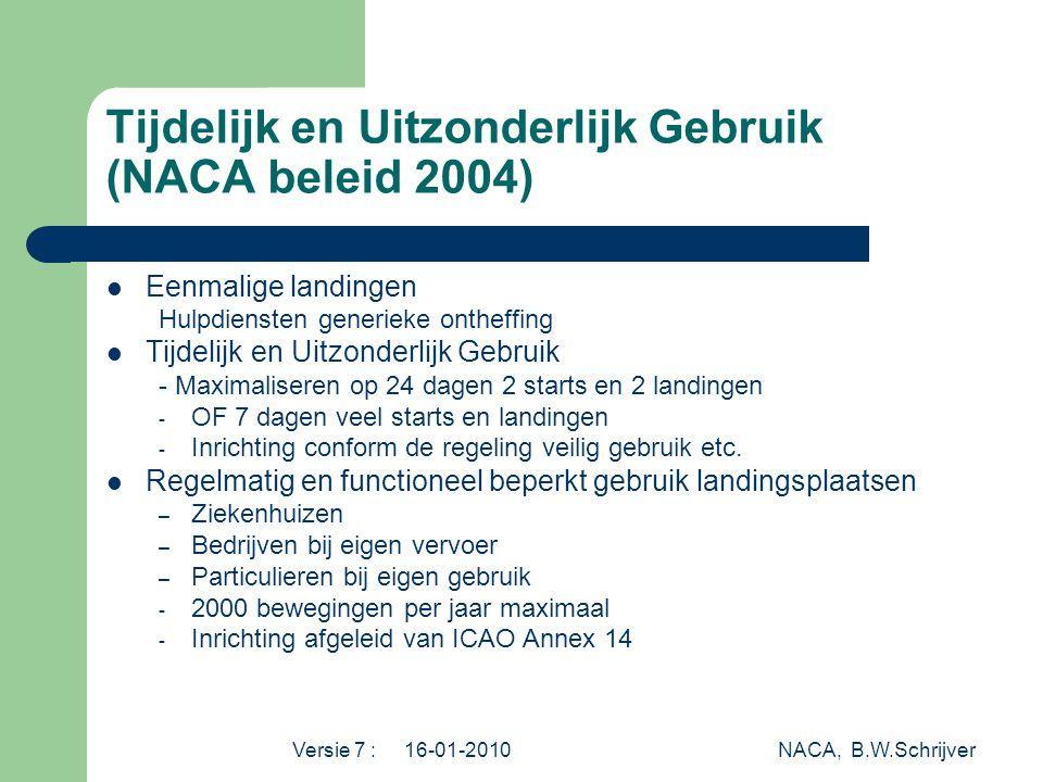 Tijdelijk en Uitzonderlijk Gebruik (NACA beleid 2004)