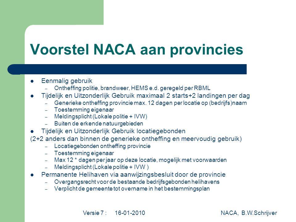 Voorstel NACA aan provincies