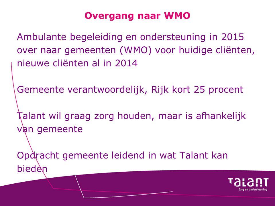 Overgang naar WMO Ambulante begeleiding en ondersteuning in 2015. over naar gemeenten (WMO) voor huidige cliënten,