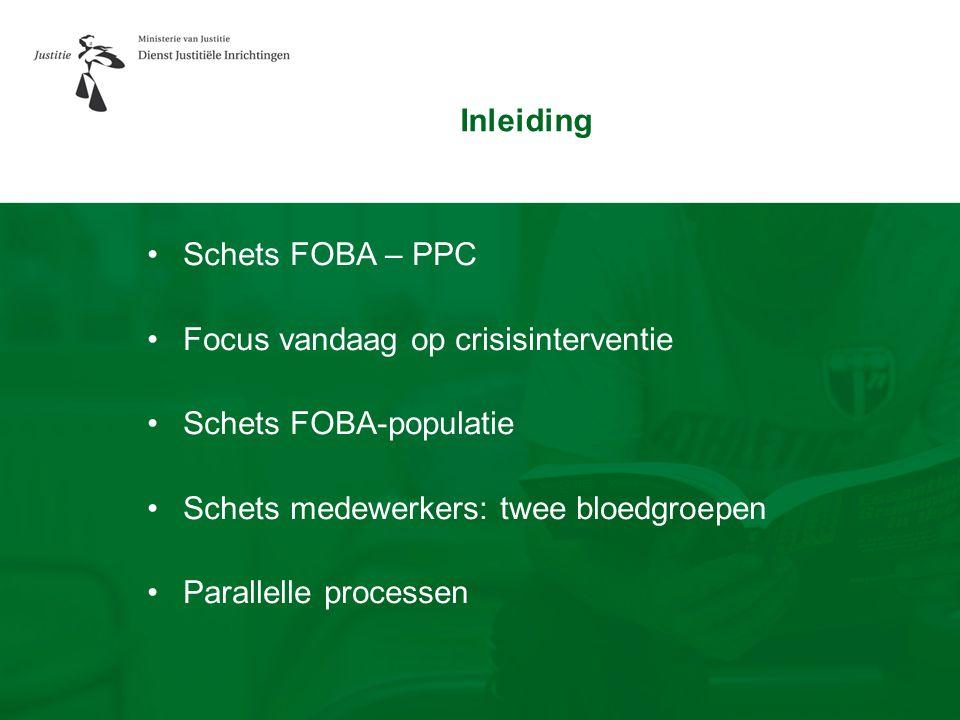 Inleiding Schets FOBA – PPC. Focus vandaag op crisisinterventie. Schets FOBA-populatie. Schets medewerkers: twee bloedgroepen.