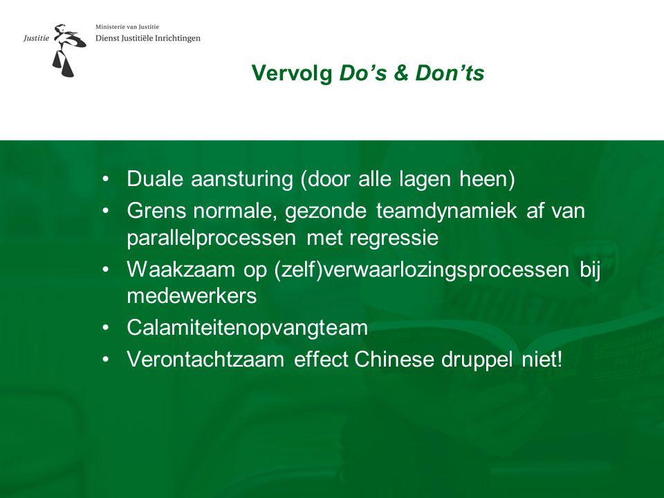 Vervolg Do's & Don'ts Duale aansturing (door alle lagen heen) Grens normale, gezonde teamdynamiek af van parallelprocessen met regressie.