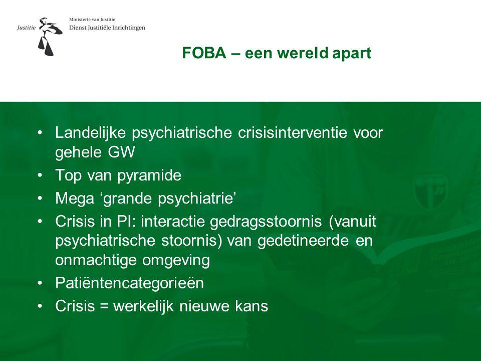 FOBA – een wereld apart Landelijke psychiatrische crisisinterventie voor gehele GW. Top van pyramide.
