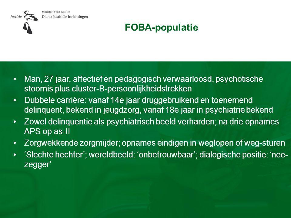 FOBA-populatie Man, 27 jaar, affectief en pedagogisch verwaarloosd, psychotische stoornis plus cluster-B-persoonlijkheidstrekken.