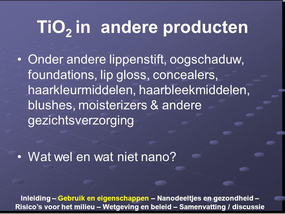 TiO2 in andere producten