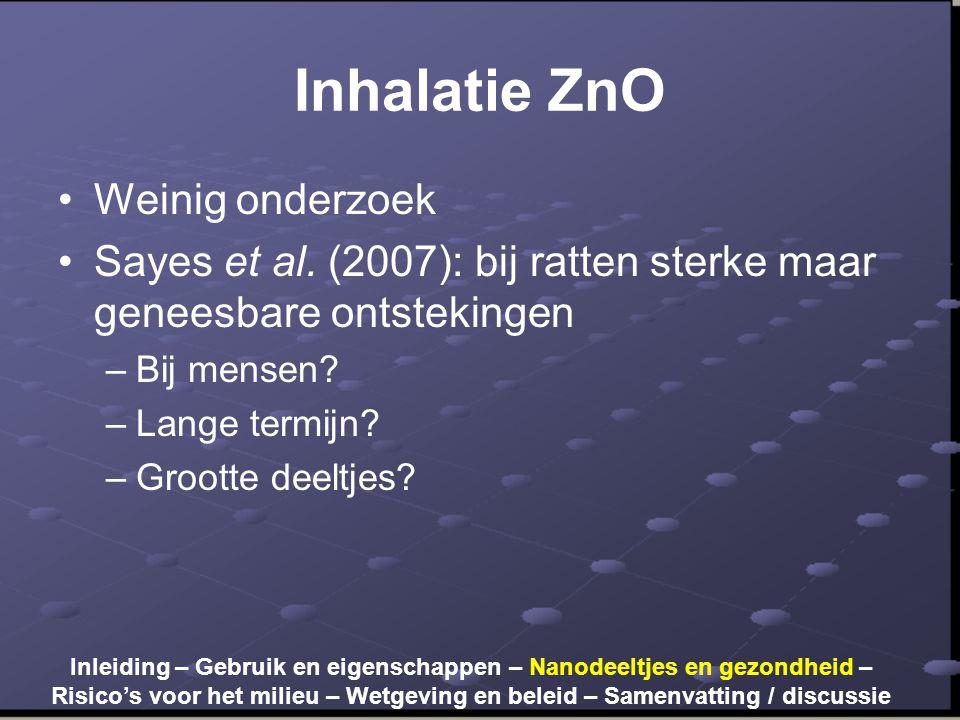 Inhalatie ZnO Weinig onderzoek