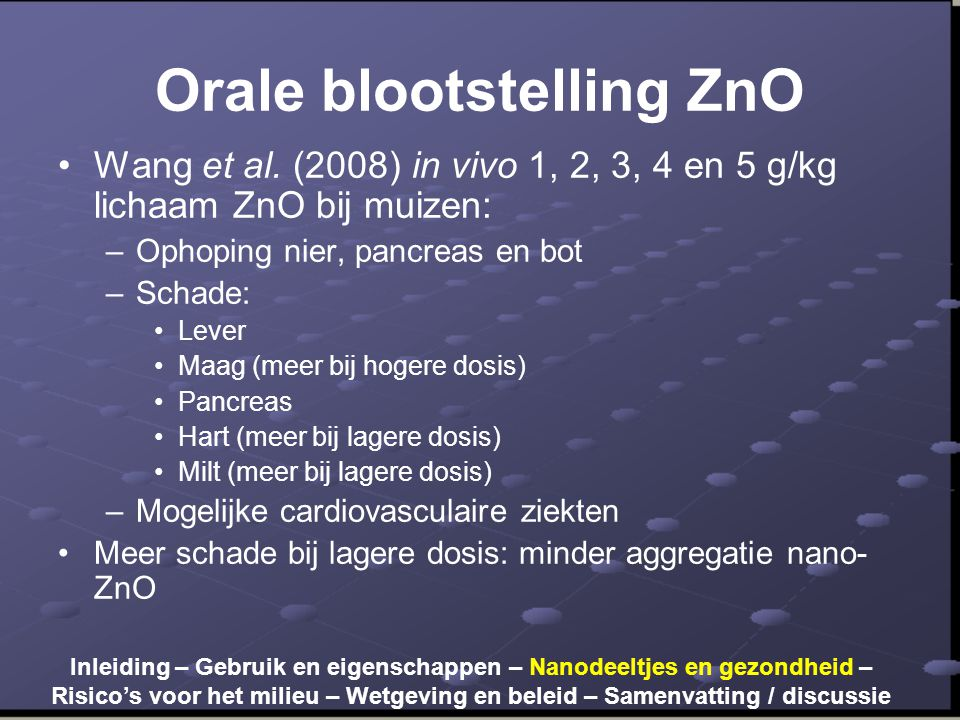 Orale blootstelling ZnO