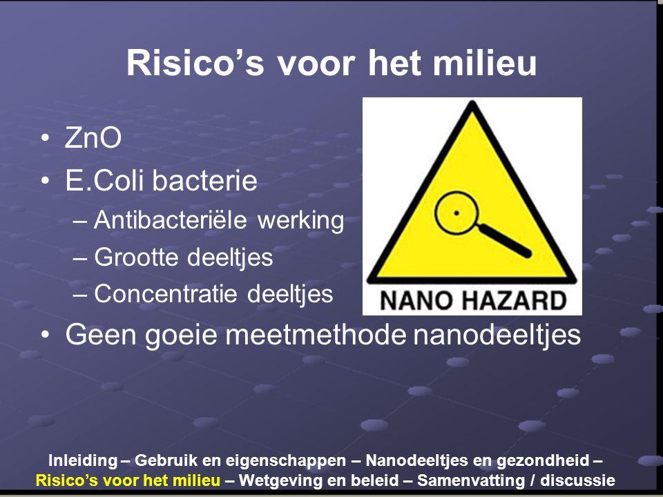 Risico's voor het milieu