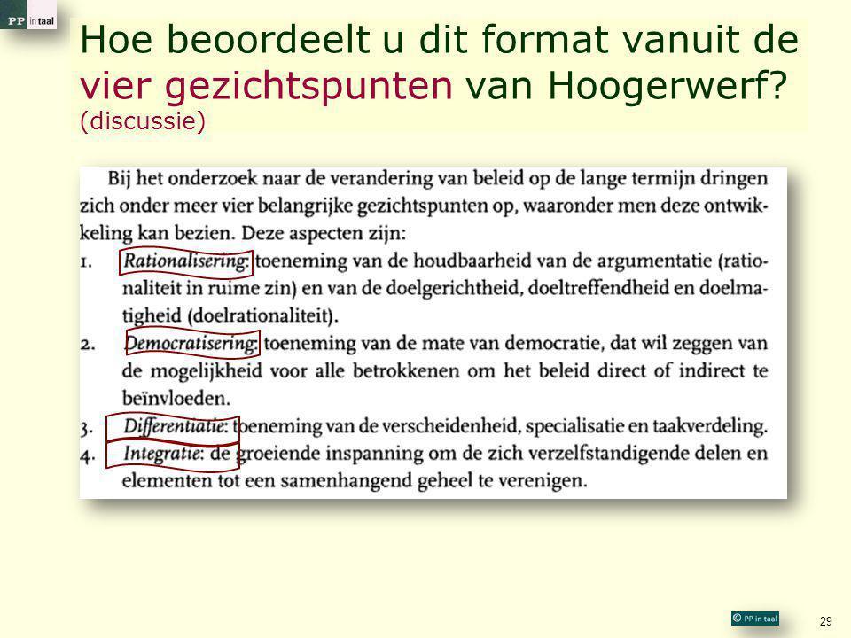 Hoe beoordeelt u dit format vanuit de vier gezichtspunten van Hoogerwerf (discussie)