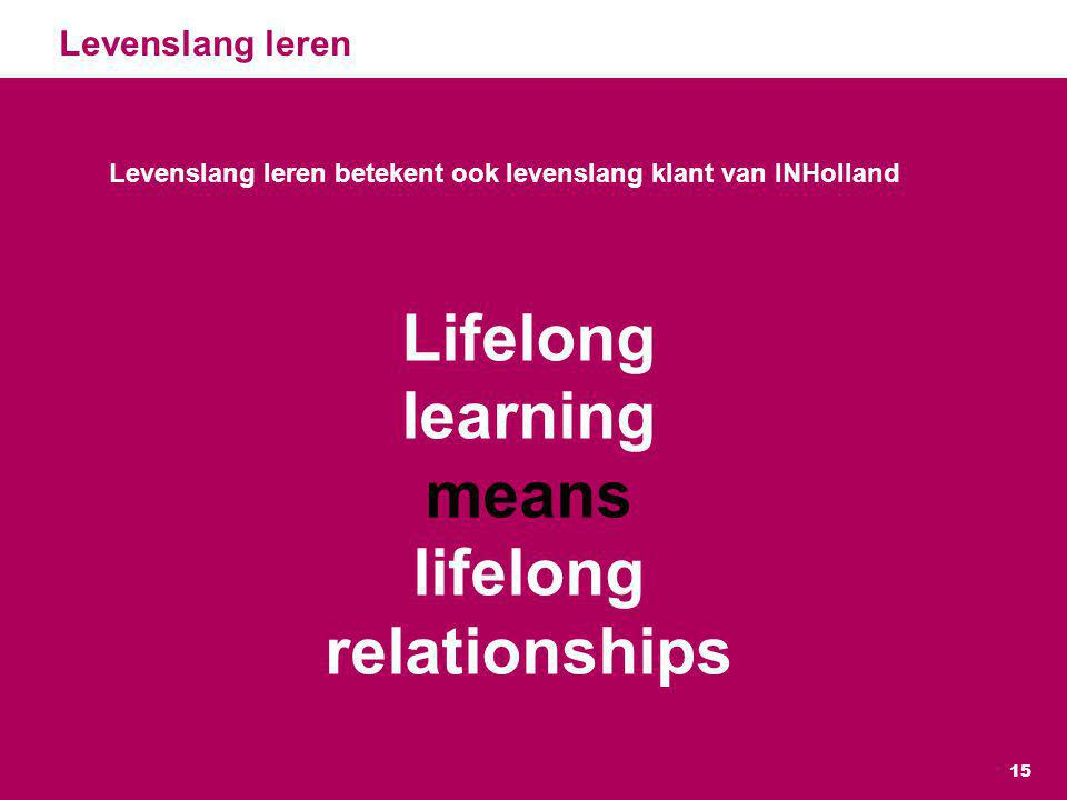 Lifelong learning means lifelong relationships