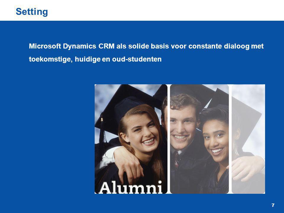 Setting Microsoft Dynamics CRM als solide basis voor constante dialoog met toekomstige, huidige en oud-studenten.