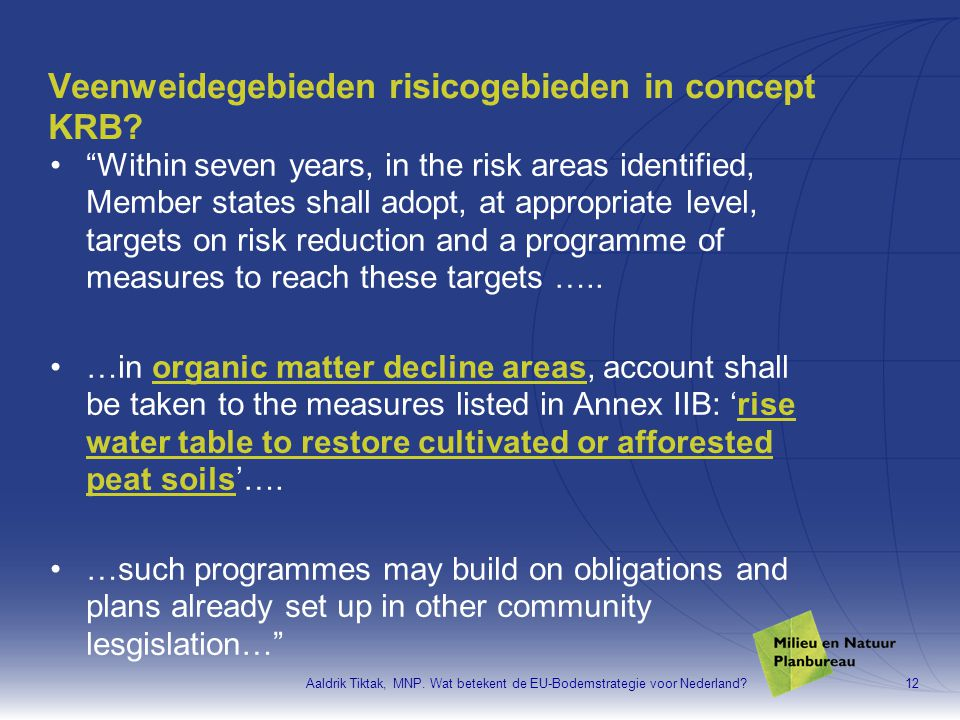Veenweidegebieden risicogebieden in concept KRB