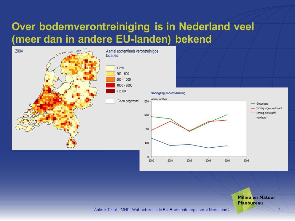 Over bodemverontreiniging is in Nederland veel (meer dan in andere EU-landen) bekend