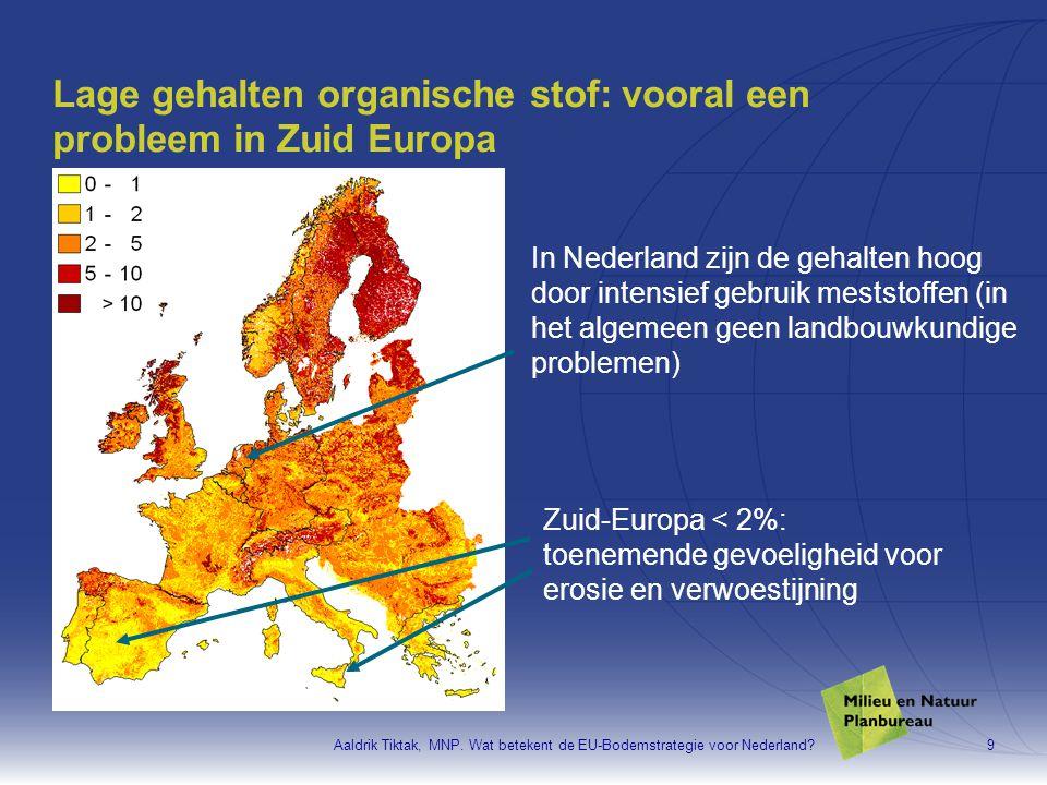 Lage gehalten organische stof: vooral een probleem in Zuid Europa
