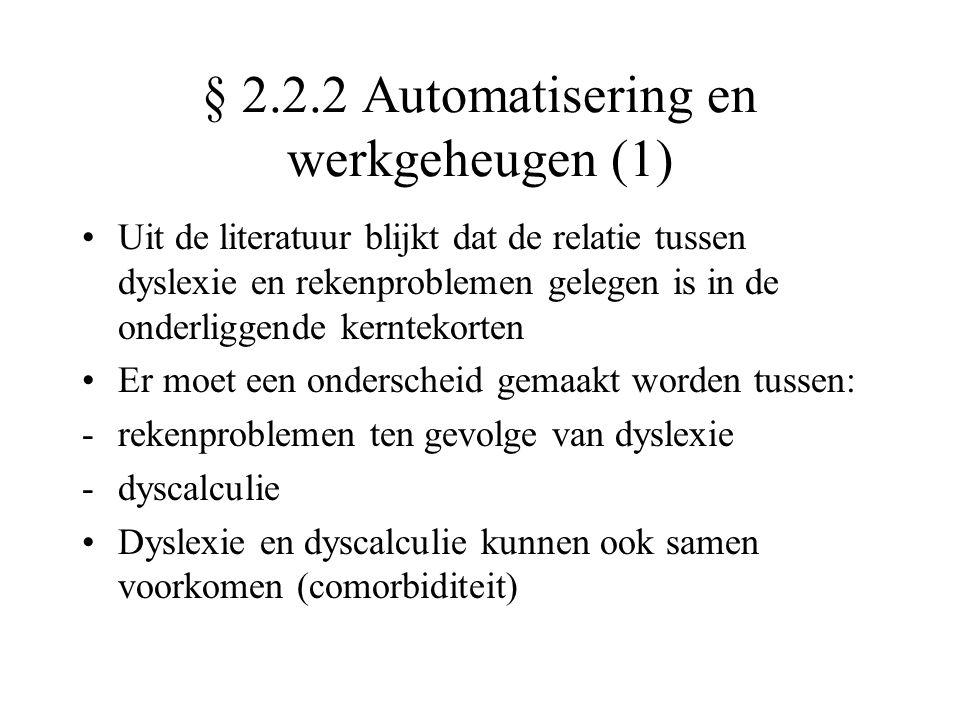 § 2.2.2 Automatisering en werkgeheugen (1)