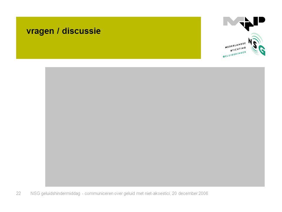 vragen / discussie NSG geluidshindermiddag - communiceren over geluid met niet-akoestici, 20 december 2006.