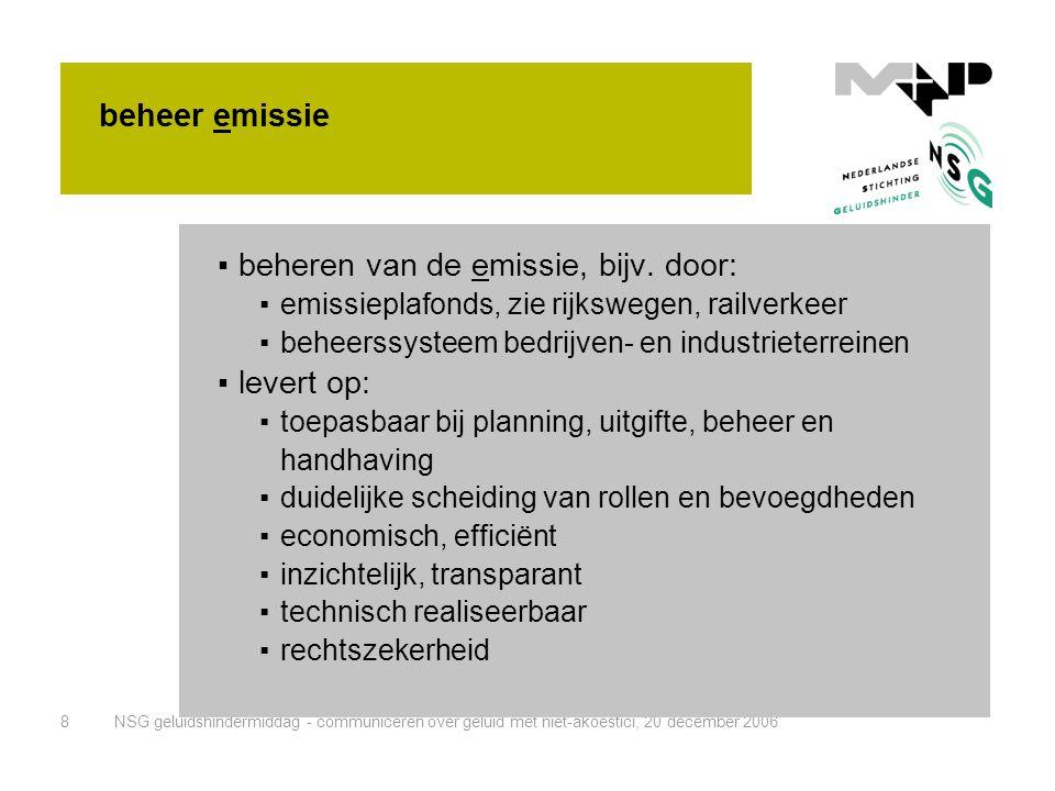 beheren van de emissie, bijv. door: