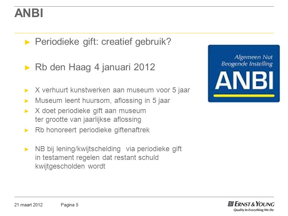 ANBI Periodieke gift: creatief gebruik Rb den Haag 4 januari 2012