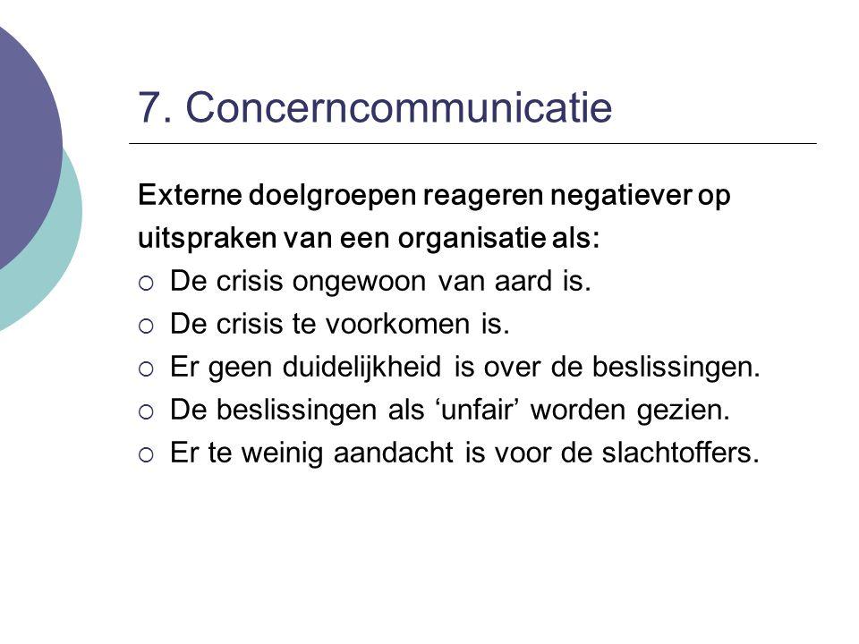 7. Concerncommunicatie Externe doelgroepen reageren negatiever op