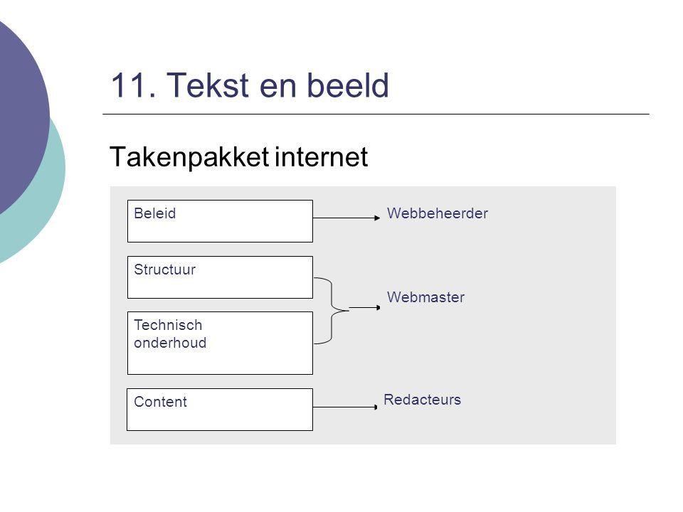 11. Tekst en beeld Takenpakket internet Beleid Webbeheerder Structuur