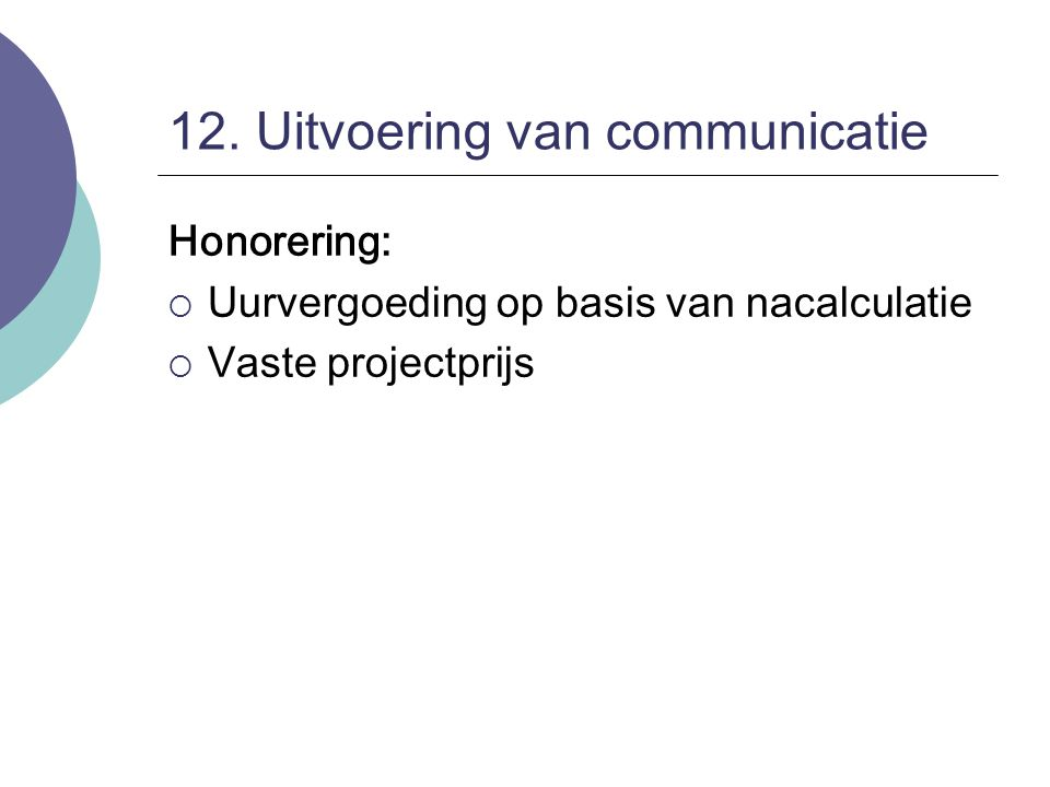 12. Uitvoering van communicatie