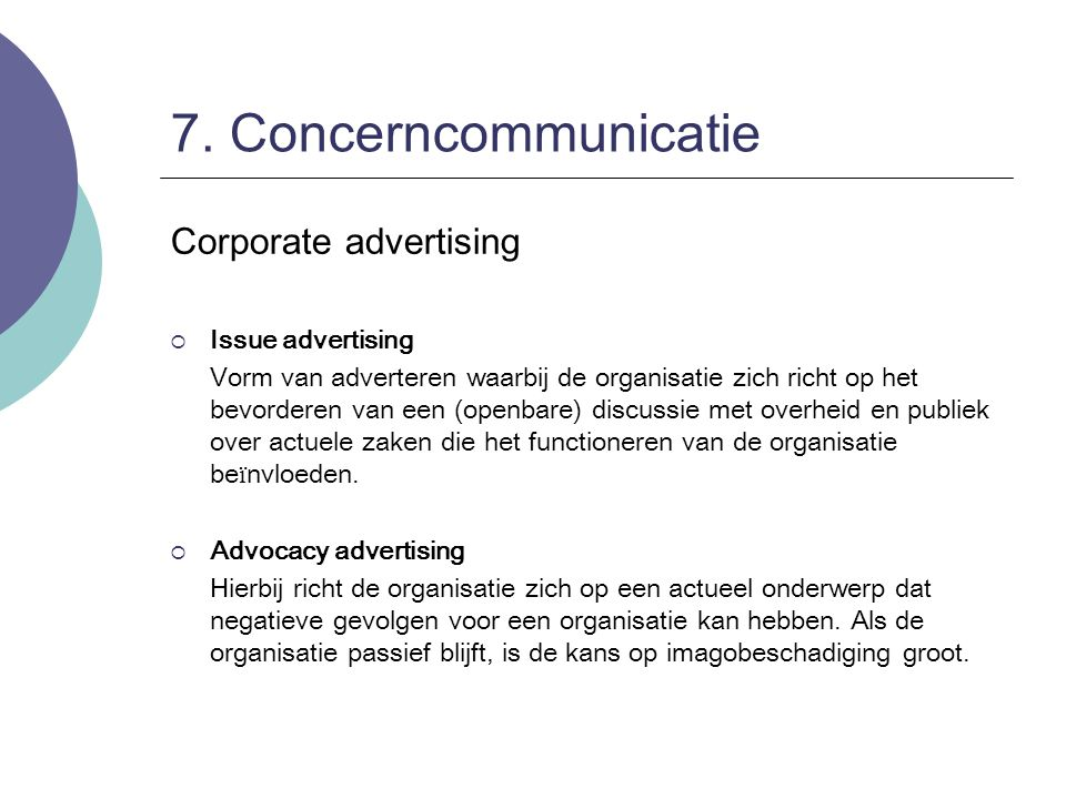 7. Concerncommunicatie Corporate advertising Issue advertising