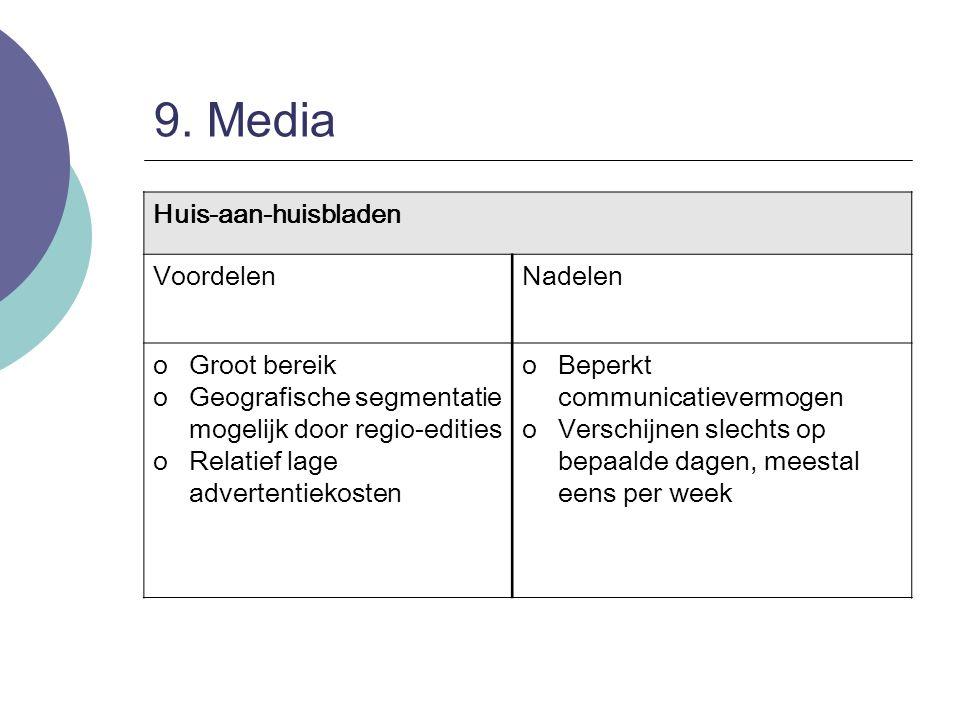 9. Media Huis-aan-huisbladen Voordelen Nadelen Groot bereik