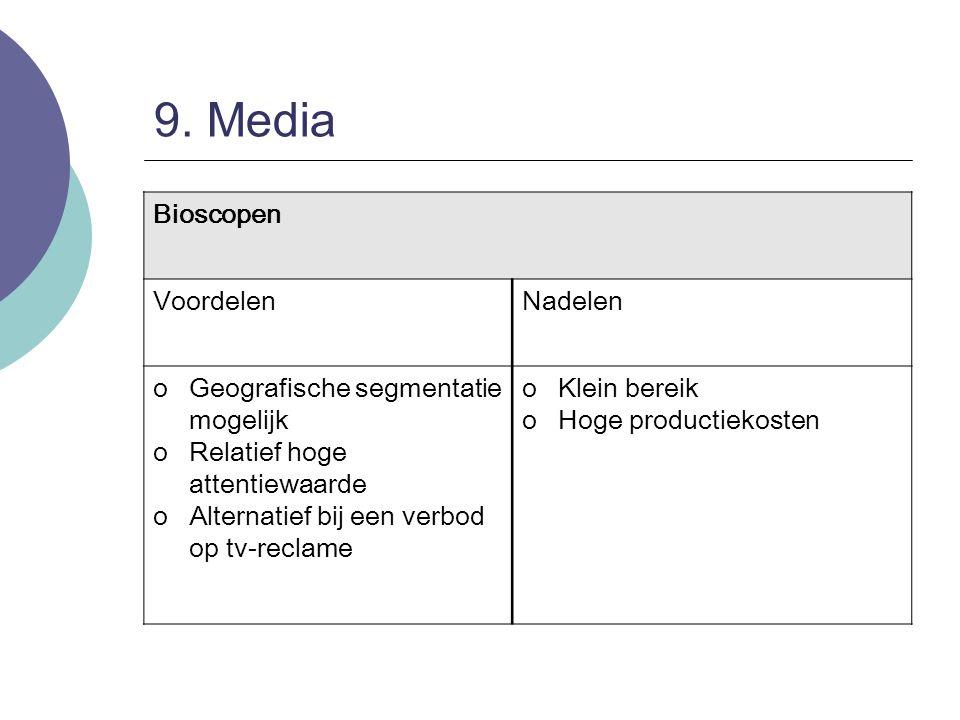 9. Media Bioscopen Voordelen Nadelen Geografische segmentatie mogelijk