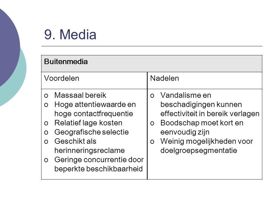 9. Media Buitenmedia Voordelen Nadelen Massaal bereik