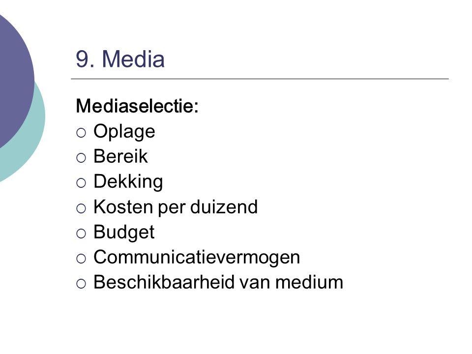 9. Media Mediaselectie: Oplage Bereik Dekking Kosten per duizend