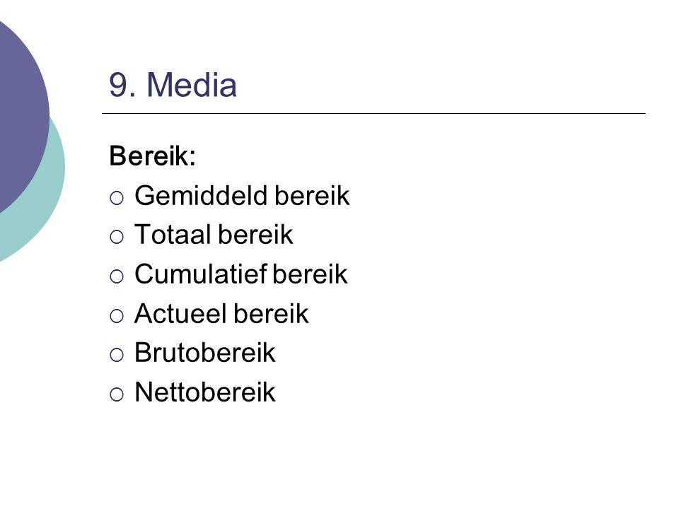 9. Media Bereik: Gemiddeld bereik Totaal bereik Cumulatief bereik