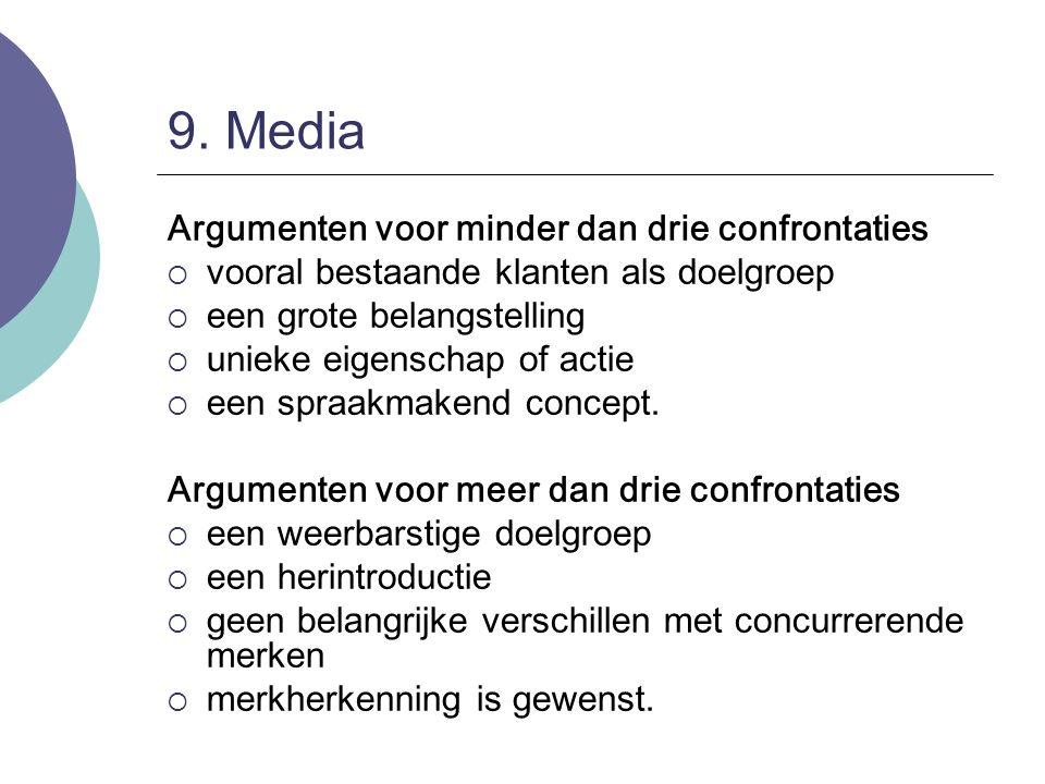 9. Media Argumenten voor minder dan drie confrontaties