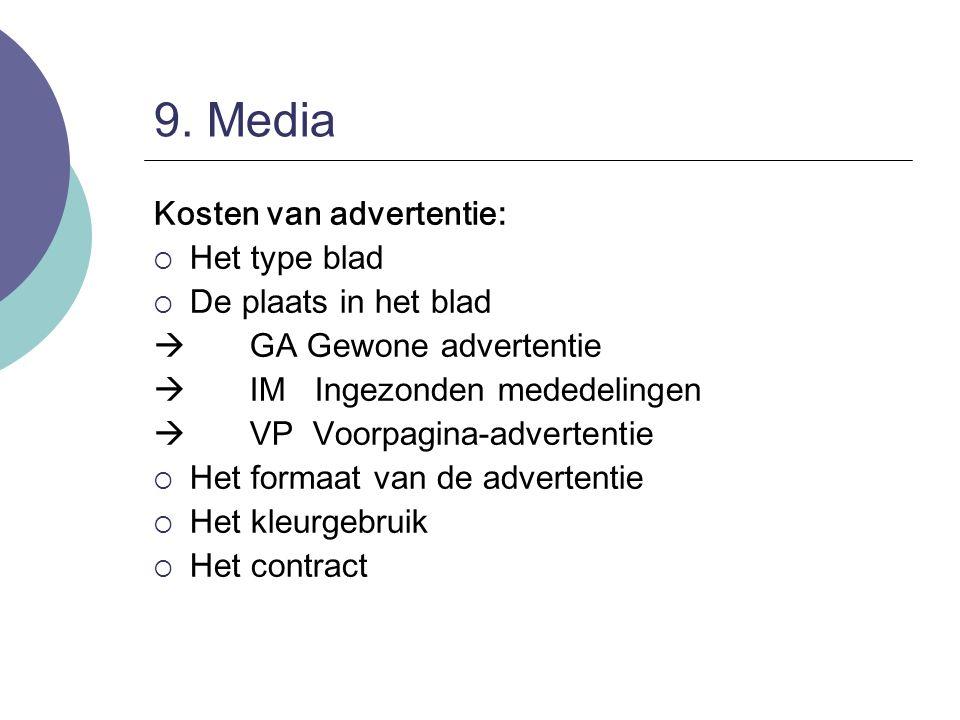 9. Media Kosten van advertentie: Het type blad De plaats in het blad