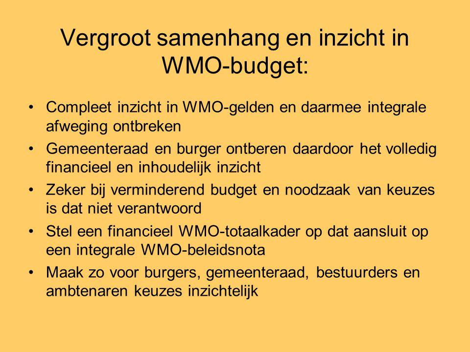 Vergroot samenhang en inzicht in WMO-budget: