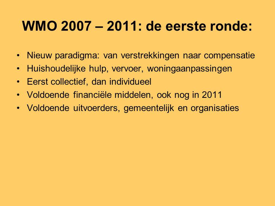 WMO 2007 – 2011: de eerste ronde: Nieuw paradigma: van verstrekkingen naar compensatie. Huishoudelijke hulp, vervoer, woningaanpassingen.