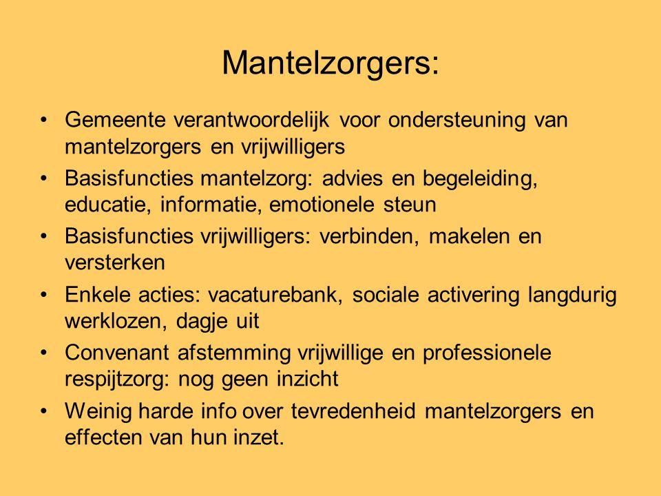 Mantelzorgers: Gemeente verantwoordelijk voor ondersteuning van mantelzorgers en vrijwilligers.