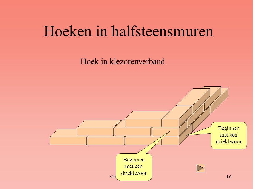 Hoeken in halfsteensmuren