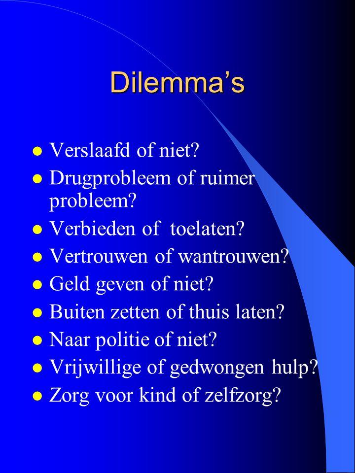 Dilemma's Verslaafd of niet Drugprobleem of ruimer probleem