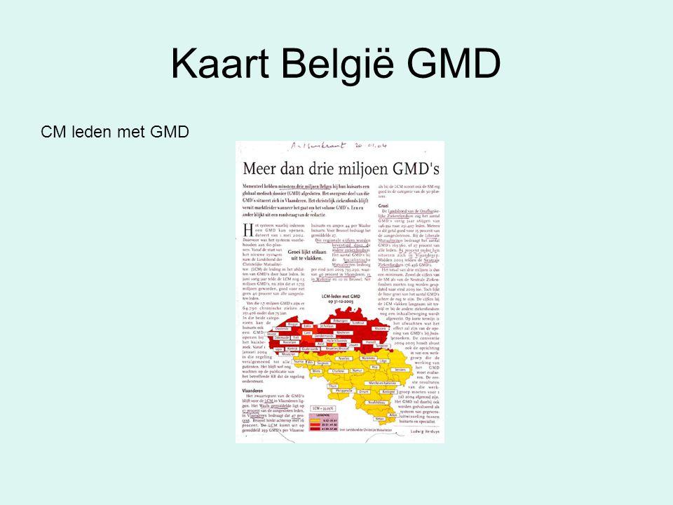 Kaart België GMD CM leden met GMD