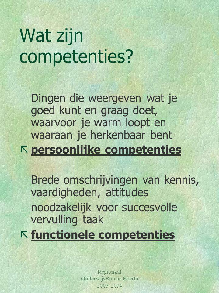Wat zijn competenties Dingen die weergeven wat je goed kunt en graag doet, waarvoor je warm loopt en waaraan je herkenbaar bent.