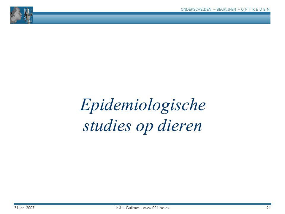 Epidemiologische studies op dieren