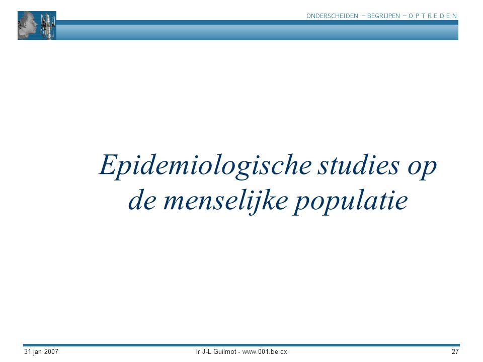 Epidemiologische studies op de menselijke populatie