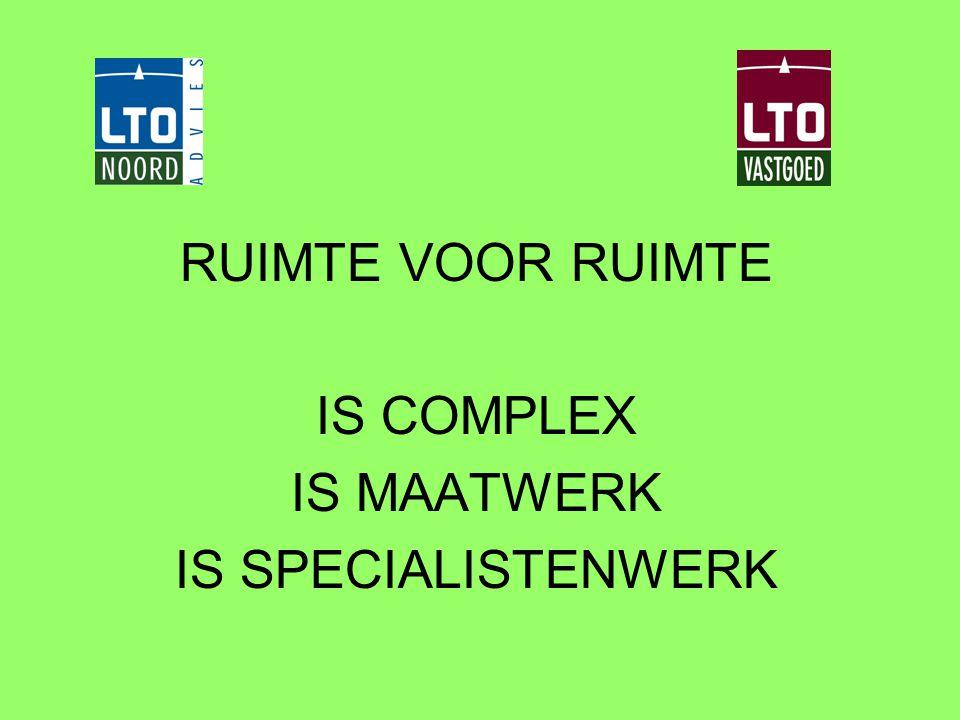 RUIMTE VOOR RUIMTE IS COMPLEX IS MAATWERK IS SPECIALISTENWERK