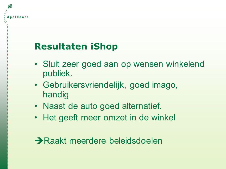Resultaten iShop Sluit zeer goed aan op wensen winkelend publiek. Gebruikersvriendelijk, goed imago, handig.