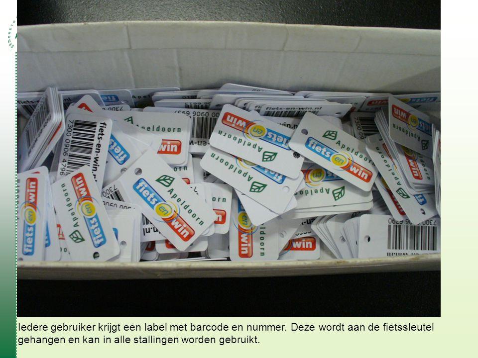 Iedere gebruiker krijgt een label met barcode en nummer