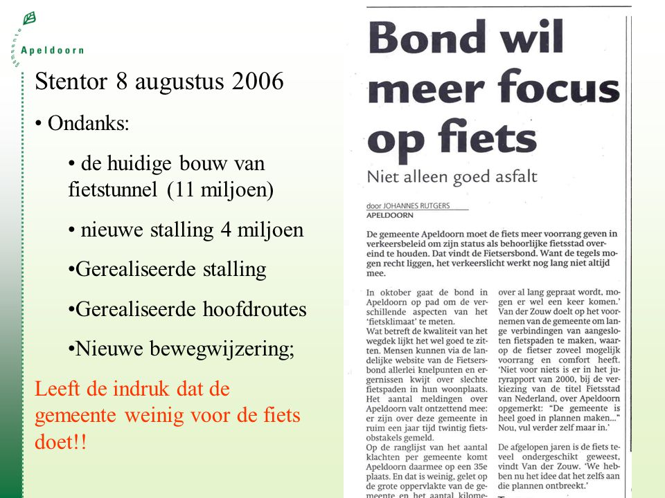 Stentor 8 augustus 2006 Ondanks: