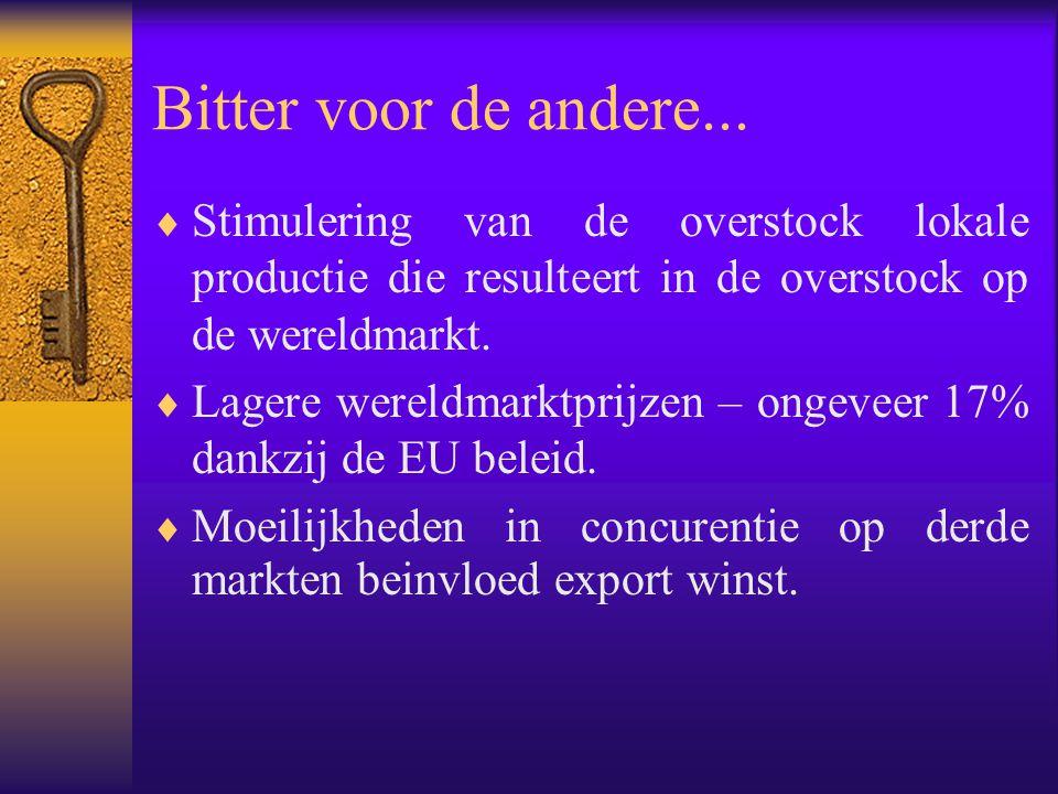 Bitter voor de andere... Stimulering van de overstock lokale productie die resulteert in de overstock op de wereldmarkt.