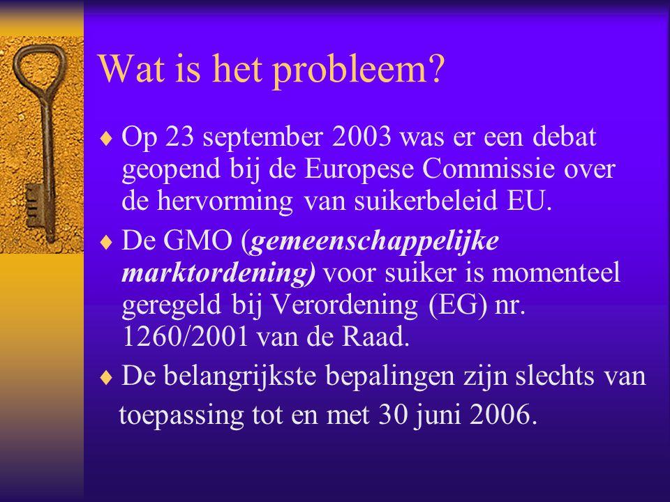 Wat is het probleem Op 23 september 2003 was er een debat geopend bij de Europese Commissie over de hervorming van suikerbeleid EU.